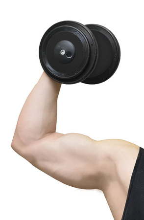 hand with biceps arm shows dumbbell (fitness workout) Stock Photo