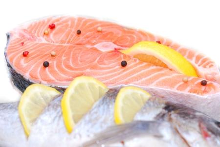 fresh beautiful salmon fish in fridge
