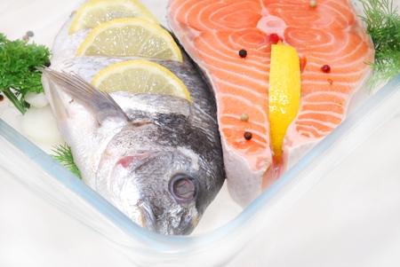 salmon fish defrosting in restaurant