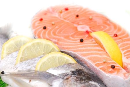 salmon filet in fridge in supermarket