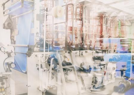 double exposure industry abstract backround (polyethylene production) Reklamní fotografie