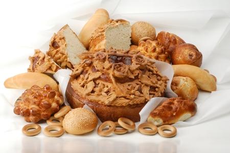 bread (loaf, patty, pie, cakes) baking in antiburning parchment Reklamní fotografie