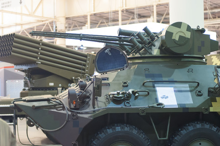 militaty armored vehicle with gun for war