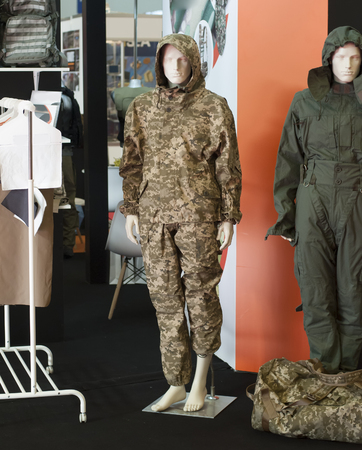 ukrainian soldier military uniform dressed on mannequin