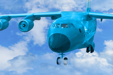 military cargo aircraft fly in clouda and  lands on