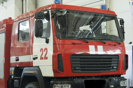 red fire engine vehicle with equipment