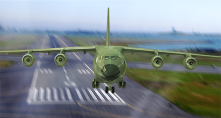 military cargo plane takes off from the runway Reklamní fotografie