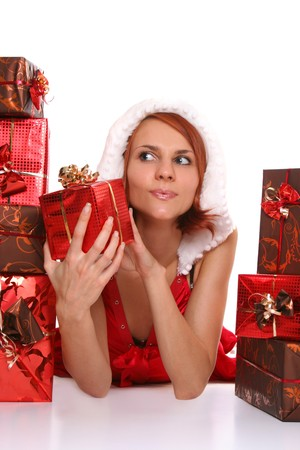 sexy young Santa-girl with presents Stock Photo - 4022696