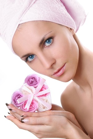 beautiful young woman with soap-flowers Stock Photo
