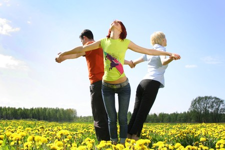 happy friends outdoors Stock Photo - 4022719