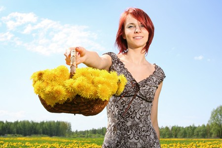 beautiful redhead girl with dandelions Stock Photo - 4022722