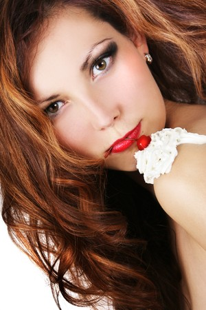 sexy young girl with red cherry on her shoulder Stock Photo - 4022736