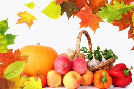 healty: Autumn laeves and healty vegetables