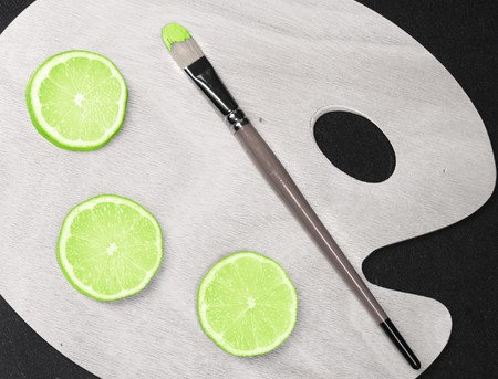 green lime on color palette Stock Photo - 4045909