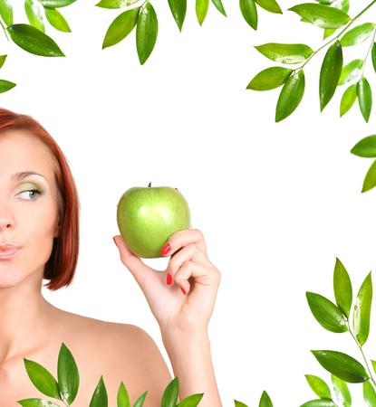 healthy young girl with fresh green apple photo