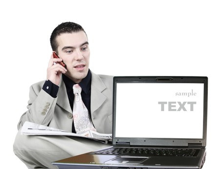 young businessman with laptop Stock Photo - 4077980