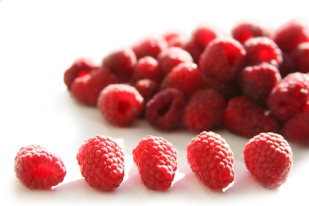 background wth fresh red raspberries Stock Photo - 4077951