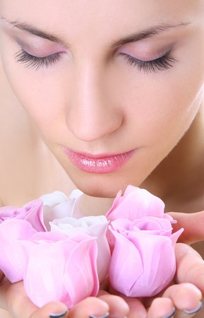 beautiful young woman with soap-flowers Stock Photo - 4077932