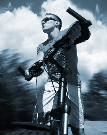 boy on the bicycle (tonned blue) Stock Photo