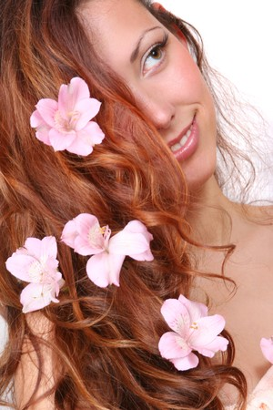 portrait of girl with flowers in her hair