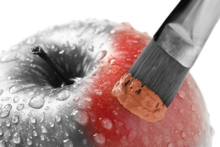 apple painted in red