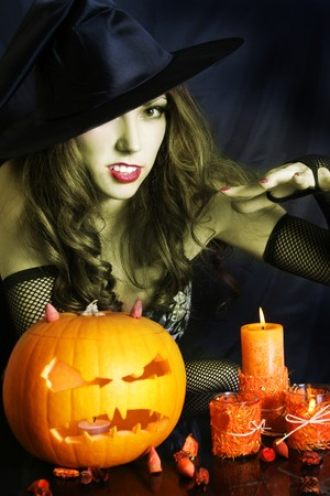 cute witch on halloween night