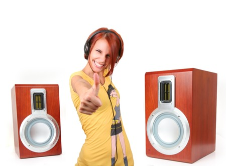 funny young girl listening music photo