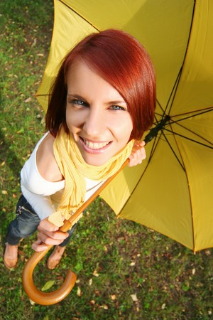 funny girl in the autumn park photo