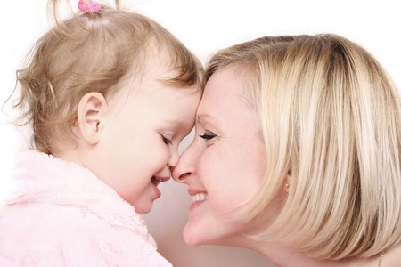 young mother with cute little daughter Stock Photo