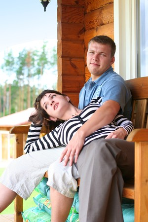 young couple ralaxing in summer cottage Stock Photo - 4143860