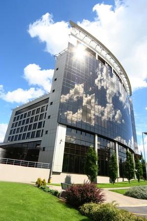 mirrored: modern mirrored building Stock Photo