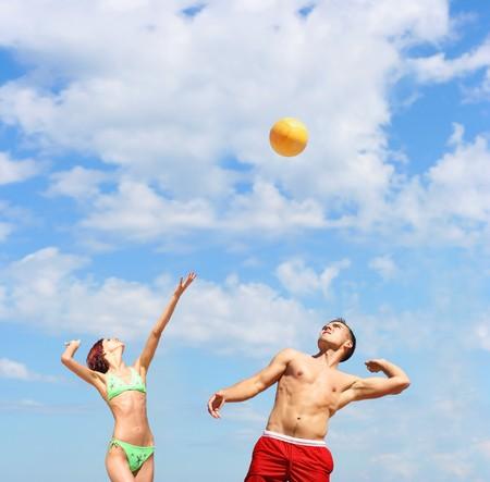 sunburned: volley-ball Stock Photo