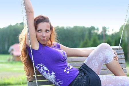 sexy young girl outdoors photo