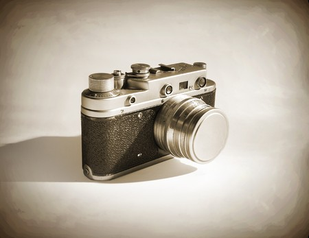 old photographs: old-fashioned camera (sepia)