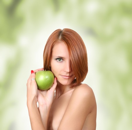 healthy young girl with fresh green apple Stock Photo