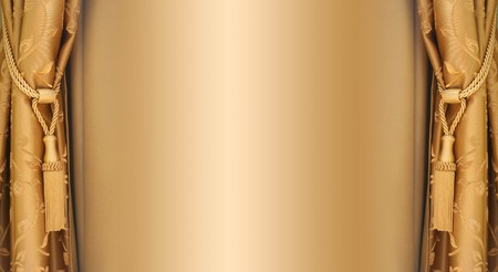 golden silky curtains Stock Photo - 4313365
