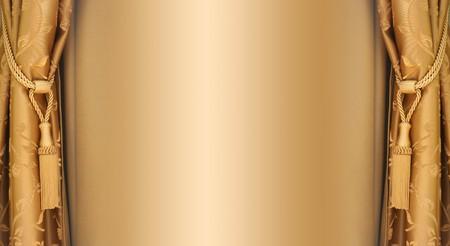 golden silky curtains Stock Photo - 4313365