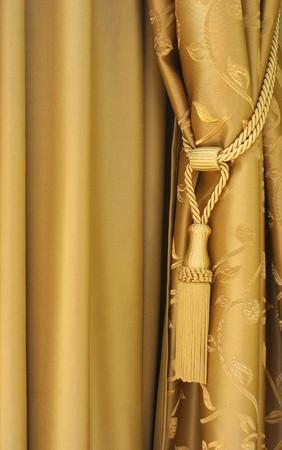 curtain design: Golden tende di seta Archivio Fotografico