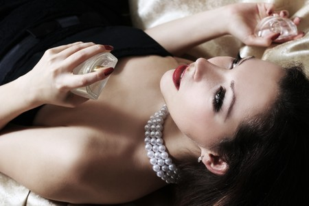 sexy beautiful woman with perfumes