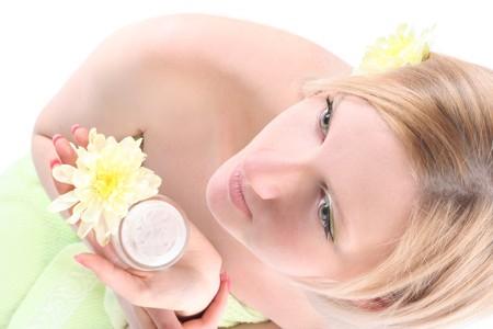 beautiful blond girl with cream