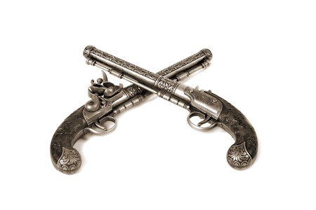 two old-fashioned guns photo