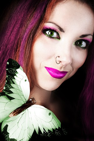 funny colored girl with butterfly photo
