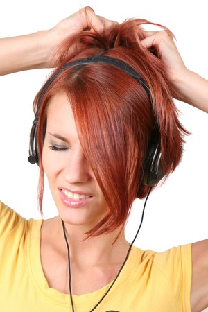 funny colorful girl listening music photo