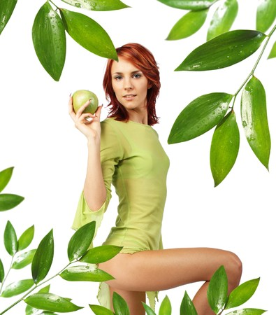 cute girl with fresh green apple photo