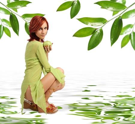 cute girl with fresh green apple