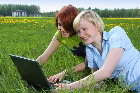 happy girls outdoors photo