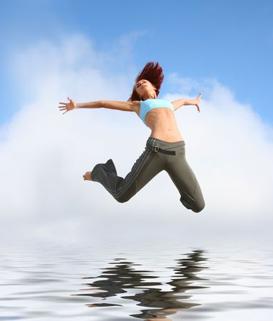 happy jumping girl Stock Photo - 4793874