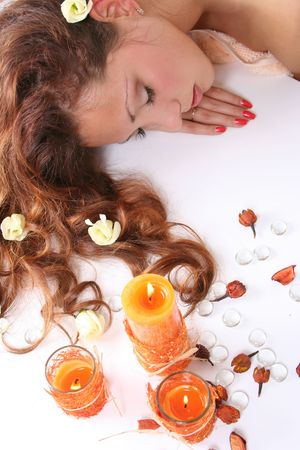 beautiful long-haired girl relaxing in spa salon Stock Photo - 4913880