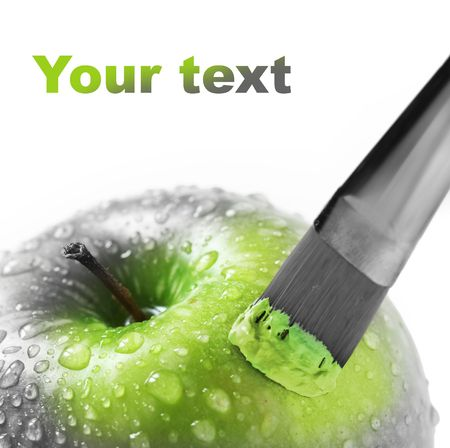 bright green apple on white Stock Photo
