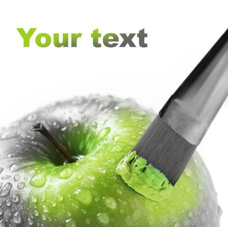 bright green apple on white Stock Photo